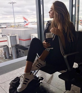 sneakers, starbucks and suitcase