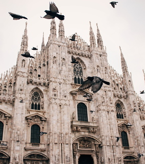 rainy day, duomo and milan