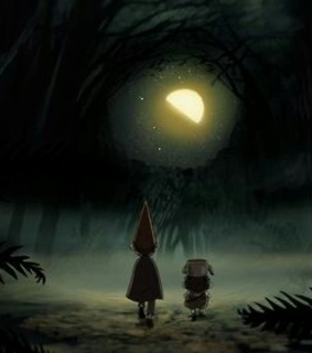 moon, night and over the garden wall