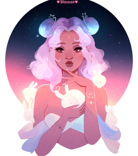 planets, girl and art