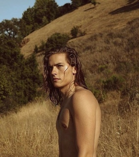 sprouse, long hair and shirtless