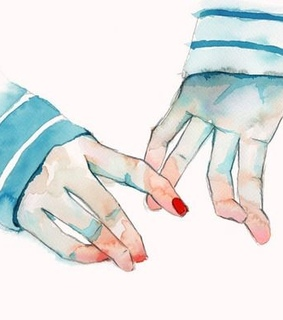 hand, holding and watercolor