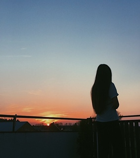 girl, sky and sunset