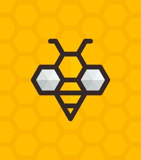 bees, yellow and hexagons