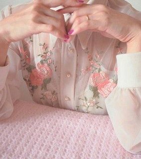 embroidery, pink and flower