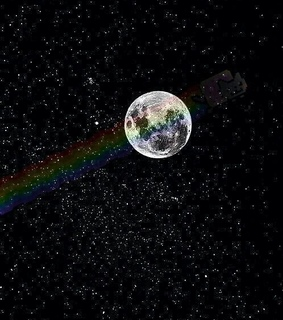 moon, nyan cat and rainbow