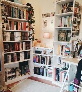 cute, library and style