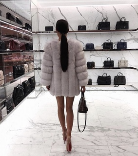 shopping, fur coat and YSL