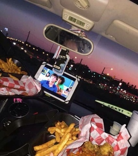 car, night and fries