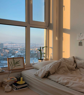dawn, window and city