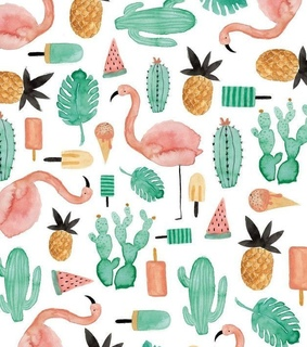 plants, flamingos and pattern