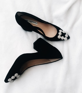 black, glam and heels