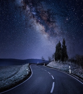 moon, road and night