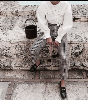 white, mode and plated pants