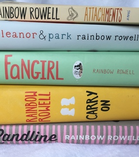 rainbow rowell, book stack and reading