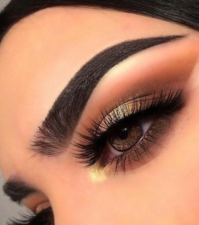 gold shadow, eyebrows and make up