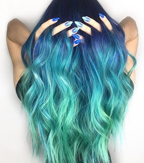 blue hair, colors and green