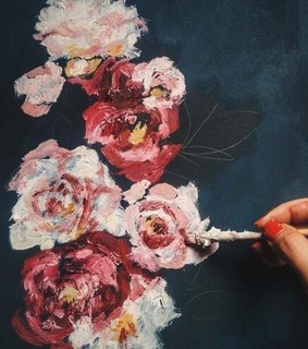 flowers, roses and painting