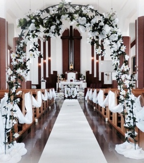 wedding, church and decoration