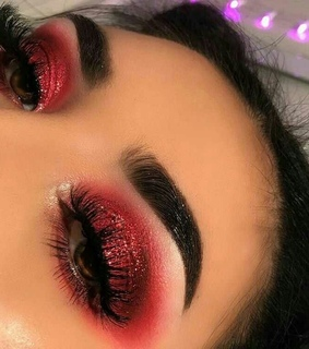 red, glow and makeup