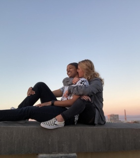 love, sunset and interracial