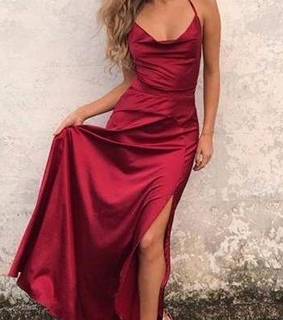 simple dress, fashion and wine red dress