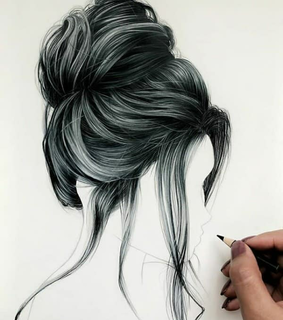 fashion sketch, dresses and hair