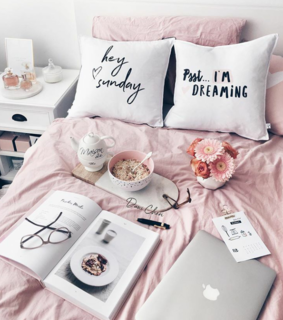pink, home and bed
