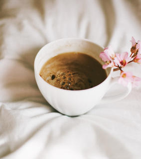 coffee, bed and still life