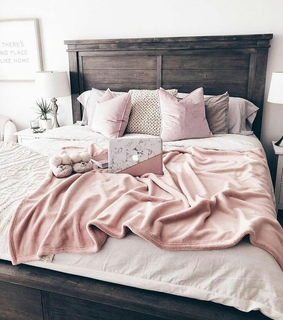 pink, bedroom and bed