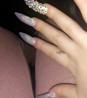 long nails, glittery and fashion