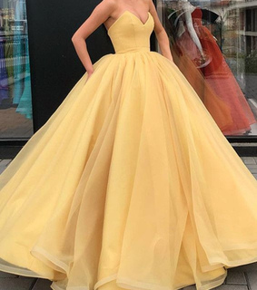 prom dress, yellow dress and ball gown