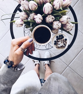 coffee, morning and flowers