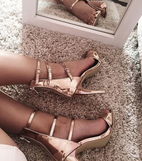 heels, rose gold and fluffy