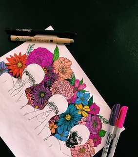 art, flower and mask