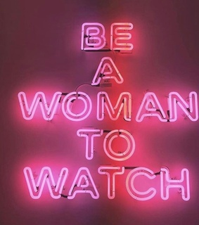 statement, woman and neon lights