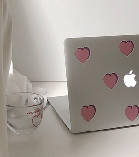 hearts, cup and aesthetic