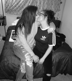 lesbian couple, black and white and lgbt
