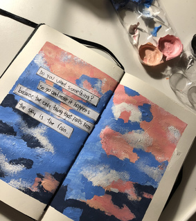 sketchbook, pink and phrases