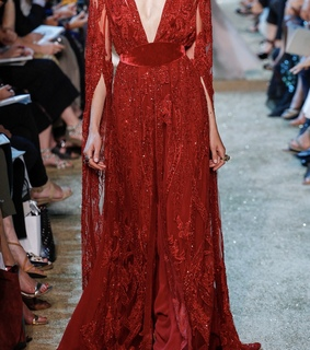 elie saab, red dress and red