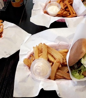 fries, burger and snack