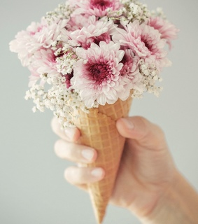 ice cream, wallpaper and flower cone