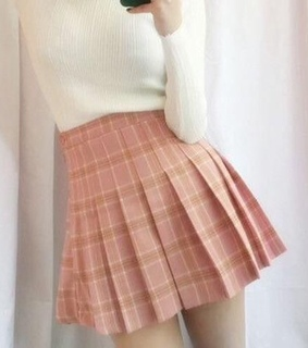 plaid, japan and skirt