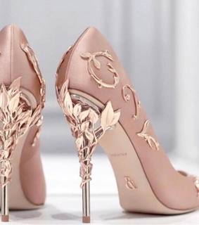 high heels, gold and shoe