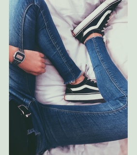 vans, watch and jeans