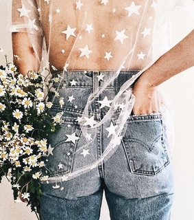 retro, flowers and jeans