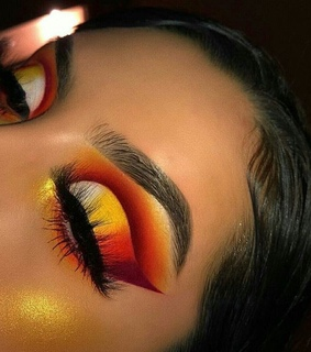 orange, makeup and sunsets