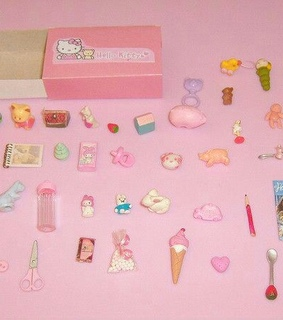 pink, hello kitty and dollhouse