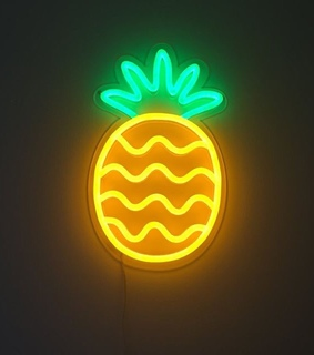 neon, lights and pineapple