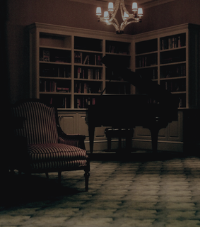 books, piano and library